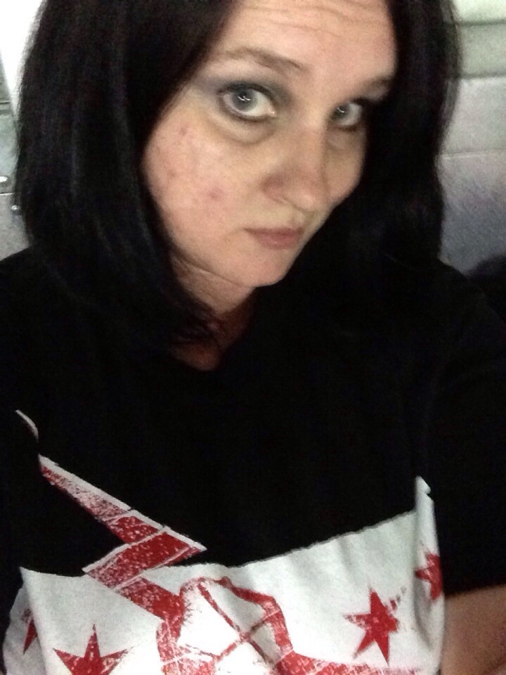 WWE wrasslin with the littles. I needed to be decked out too, so while they're in their AJ Lee digs...I chose CM Punk.
