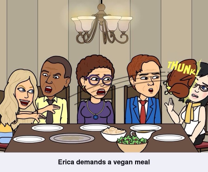 Since the Texan is too far away to celebrate with, we have to stick with Bitstrips where she hurls food @ me in front of the President