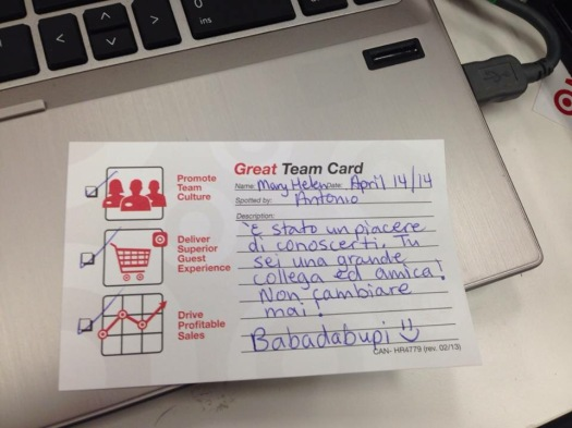 My favourite electronics teammate gives me team cards in Italian!
